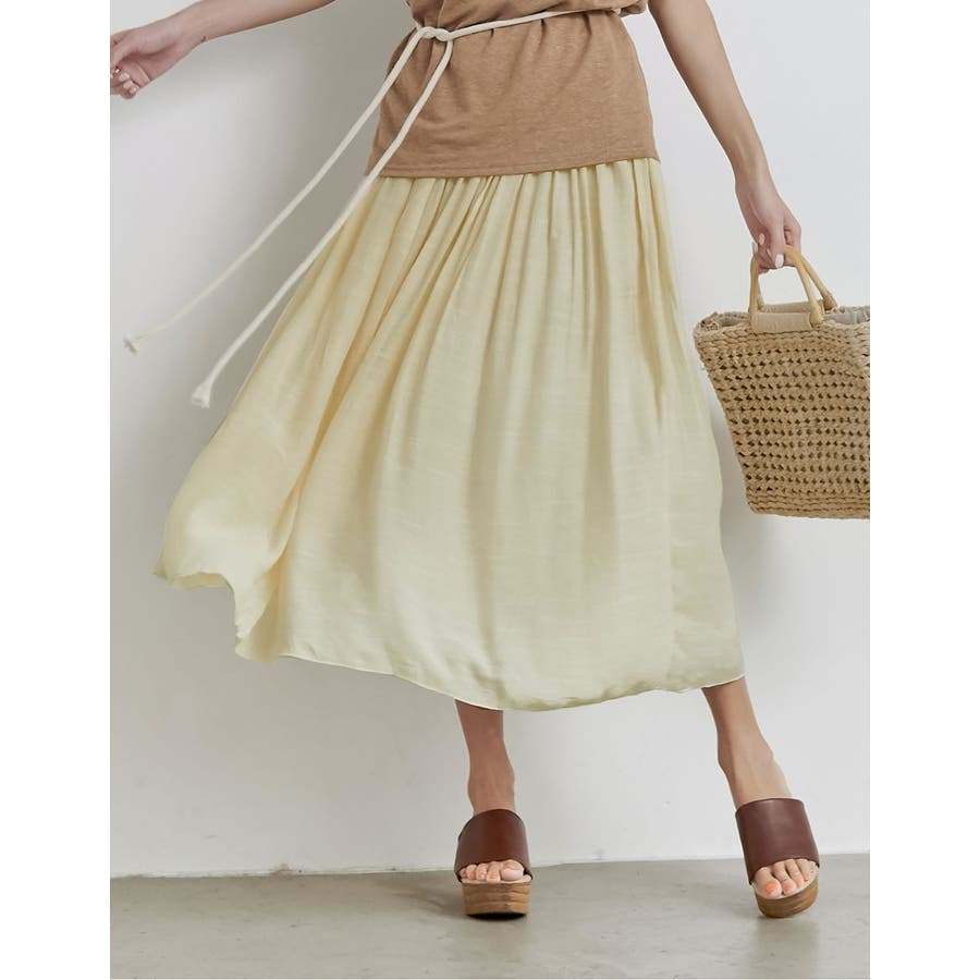 大人気の涼感フレアスカートが今年も登場! ロープ付き楊柳ロングフレアスカート 18