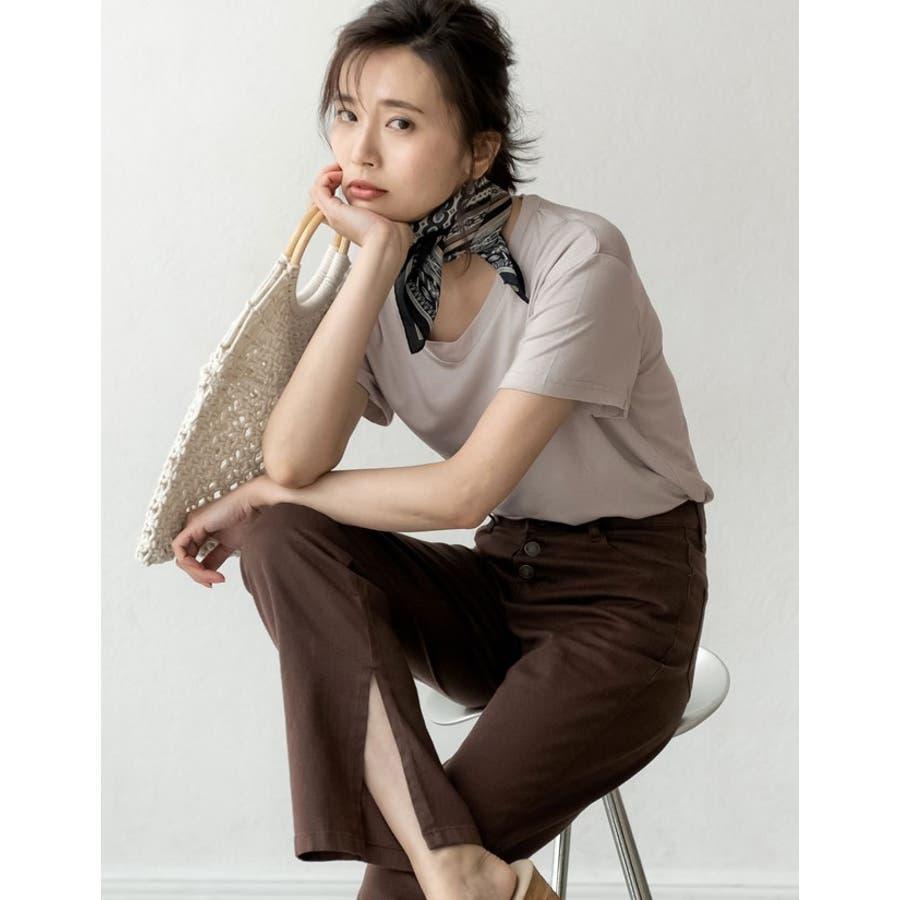 綺麗な落ち感と柔らかな肌触りが魅力 極とろみVネックTシャツ トップス 4