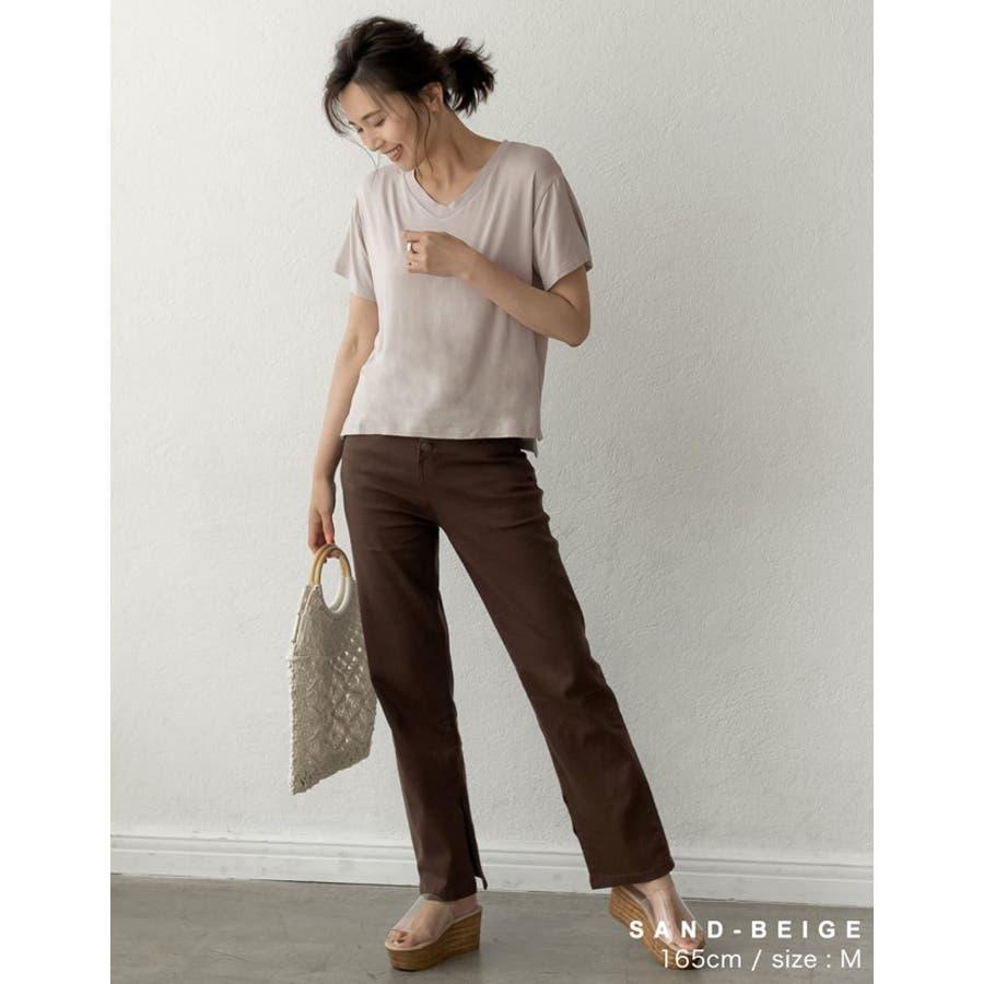 綺麗な落ち感と柔らかな肌触りが魅力 極とろみVネックTシャツ トップス 5