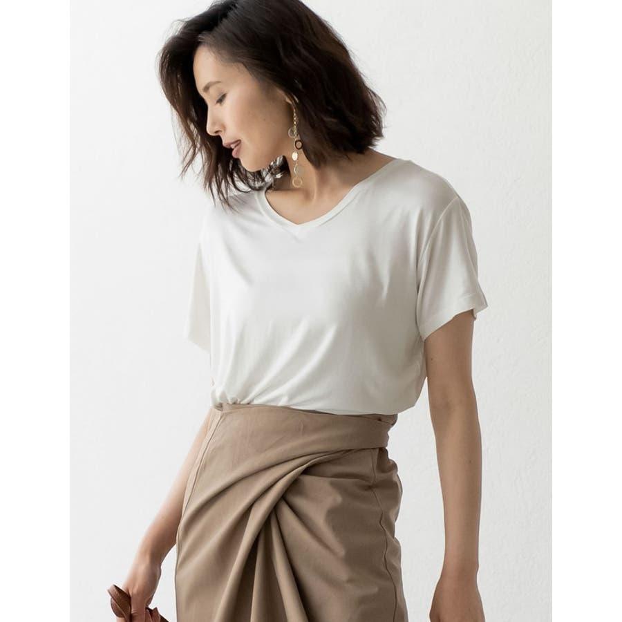 綺麗な落ち感と柔らかな肌触りが魅力 極とろみVネックTシャツ トップス 7