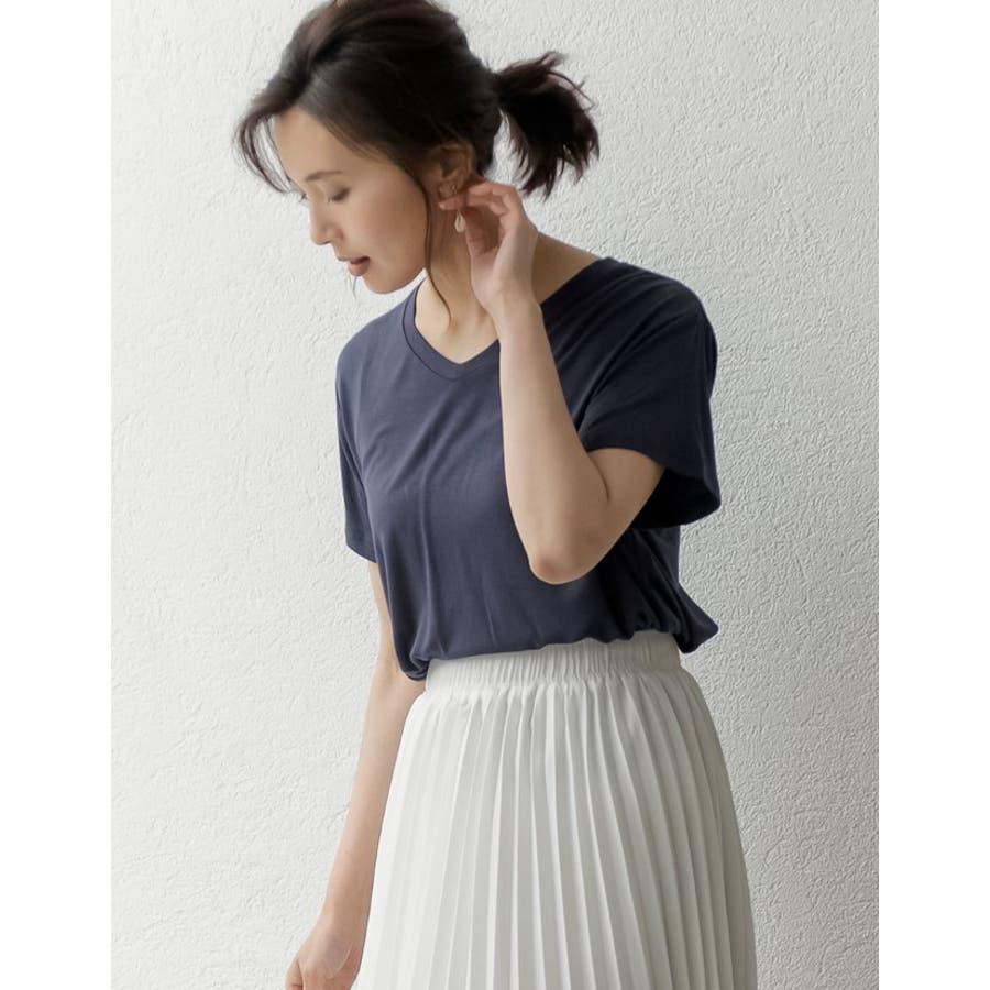 綺麗な落ち感と柔らかな肌触りが魅力 極とろみVネックTシャツ トップス 9