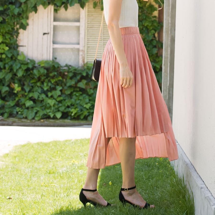 裾のカッティングが新鮮なプリーツスカート イレギュラーカットプリーツスカート ボトムス/スカート/膝丈・ミモレ丈(51〜65cm) 7