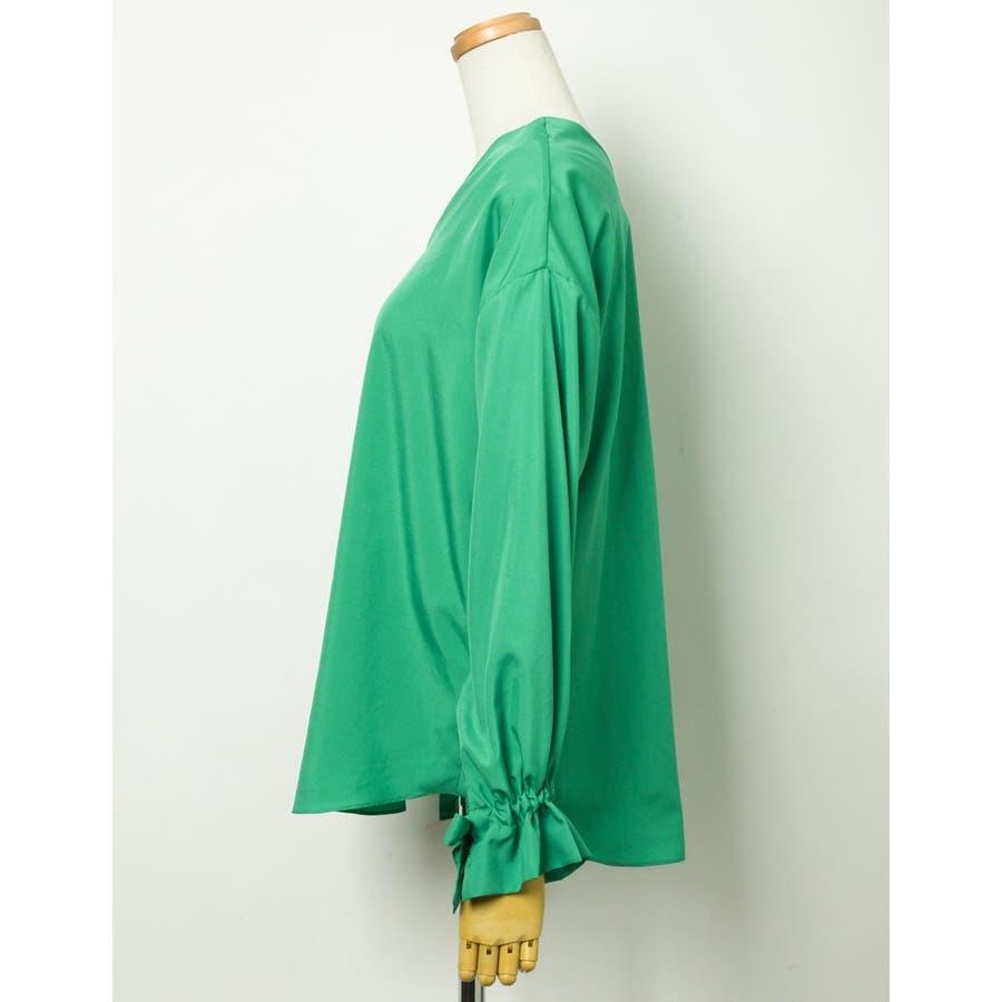 鮮やかなカラーが新鮮なチュニックブラウス 袖リボンバルーンスリーブブラウス 10