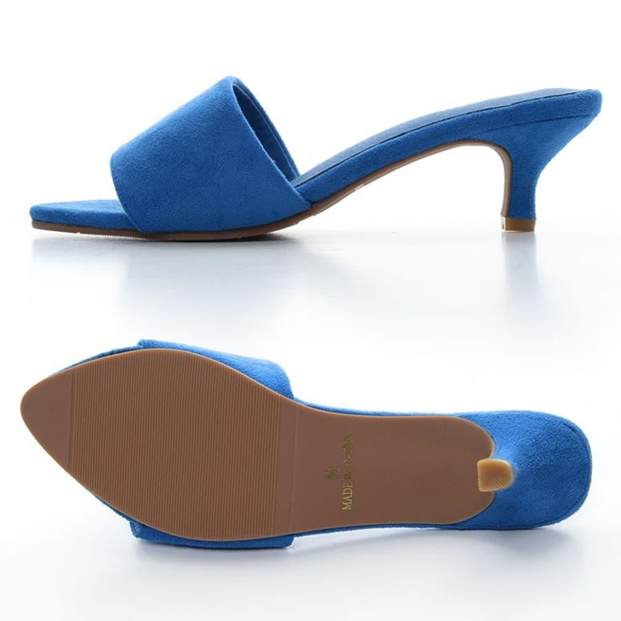 女性らしい足元を叶える、洗練されたポインテッドデザイン ローヒールワンベルトミュールサンダル シューズ/サンダル/ヒールサンダル 5