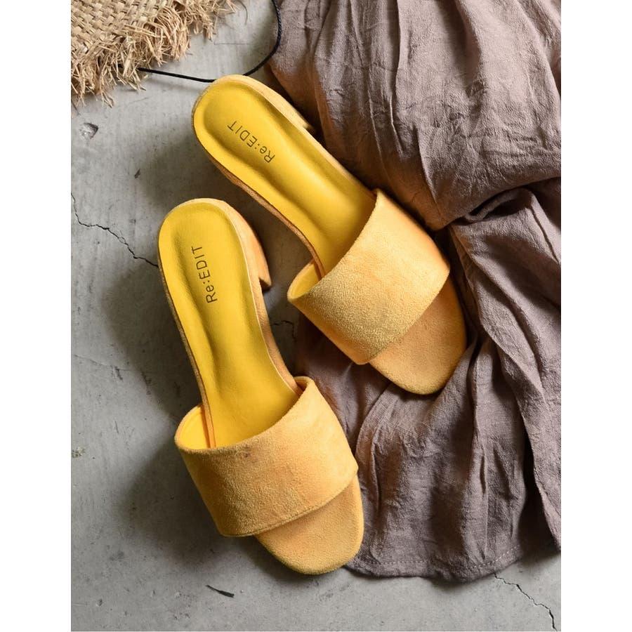 夏の足もとに鮮やかなアクセント スクエアトゥワンベルトカラーサンダル シューズ 83