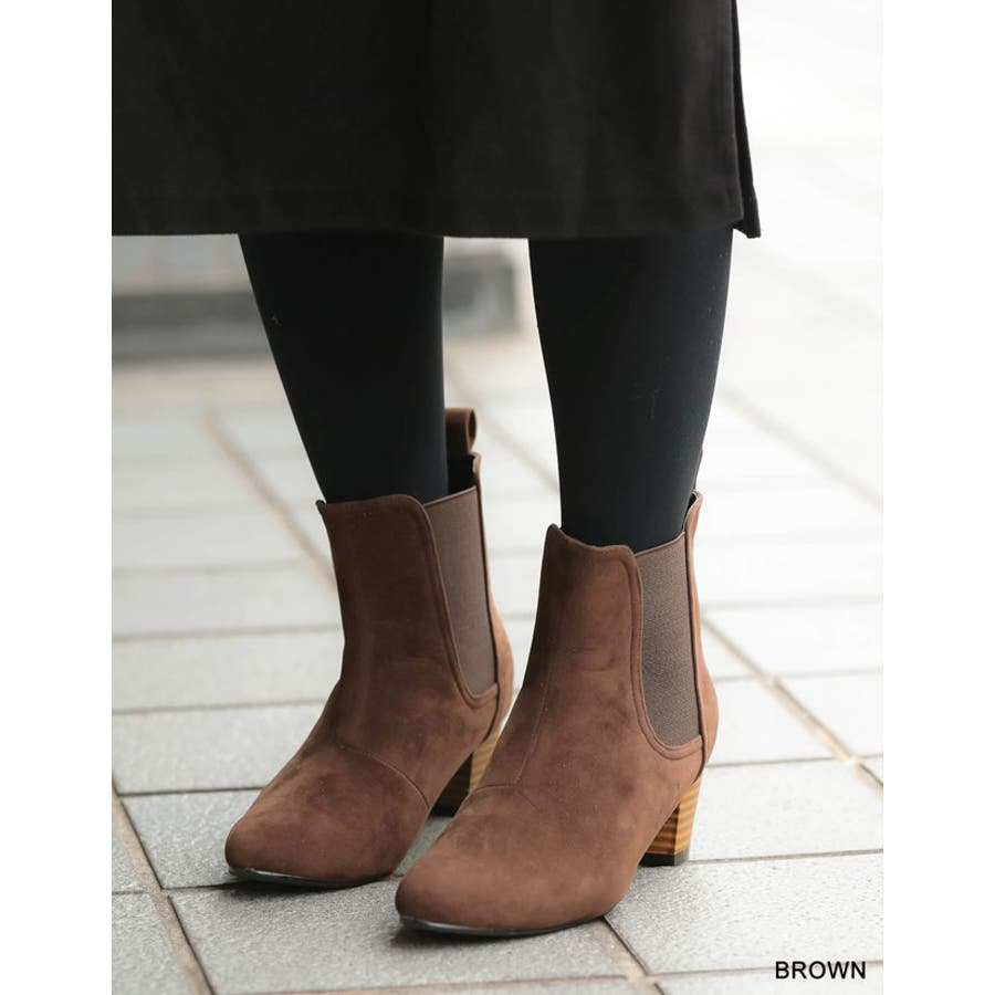 毎日履きたいのはこんなデイリーブーツ スタックヒールサイドゴアショートブーツ シューズ/ブーツ/ショートブーツ 8