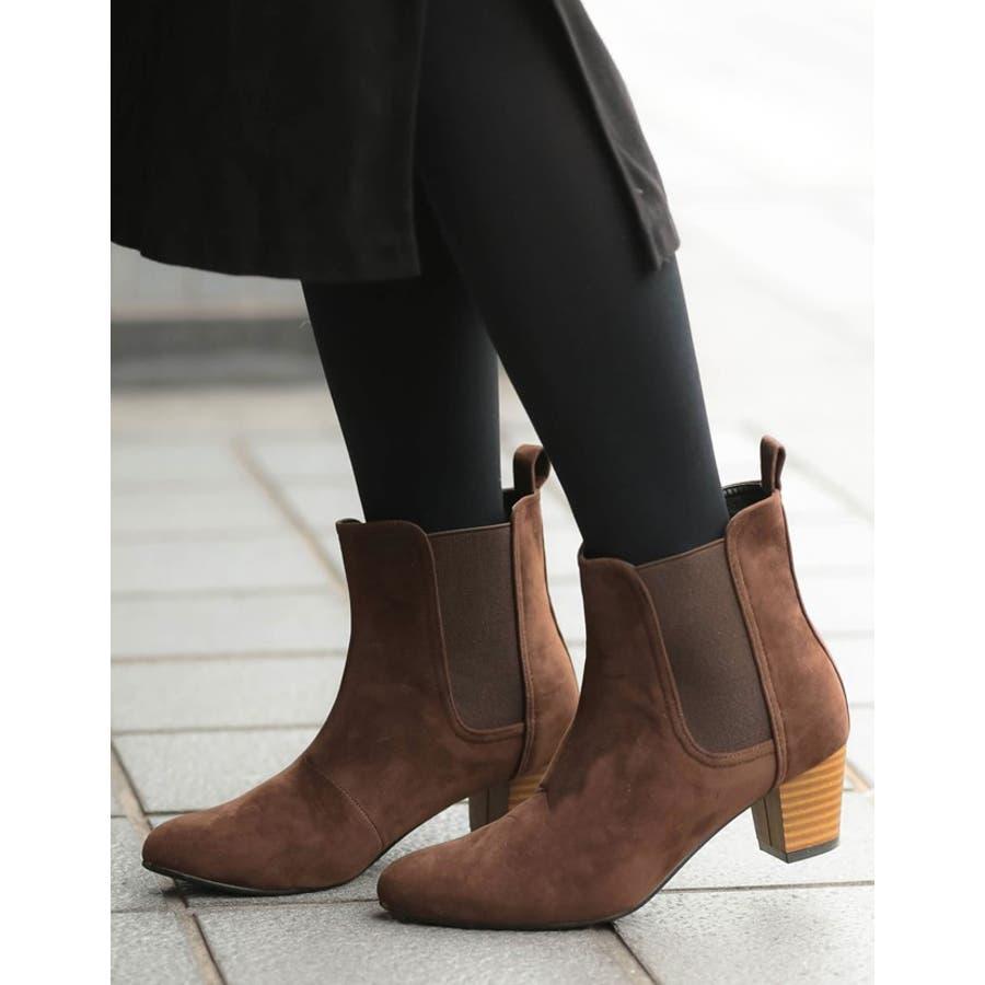 毎日履きたいのはこんなデイリーブーツ スタックヒールサイドゴアショートブーツ シューズ/ブーツ/ショートブーツ 9