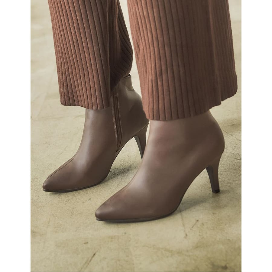 脚を細く、長く、美しく!こだわり美シルエット。 [星玲奈さん着用]ポインテッドトゥサイドジップショートブーツ シューズ/ブーツ 29