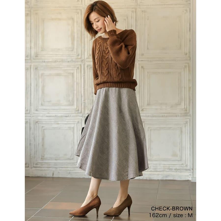繊細なグレンチェック柄で品よく ウール混グレンチェック柄アシンメトリースカート 4