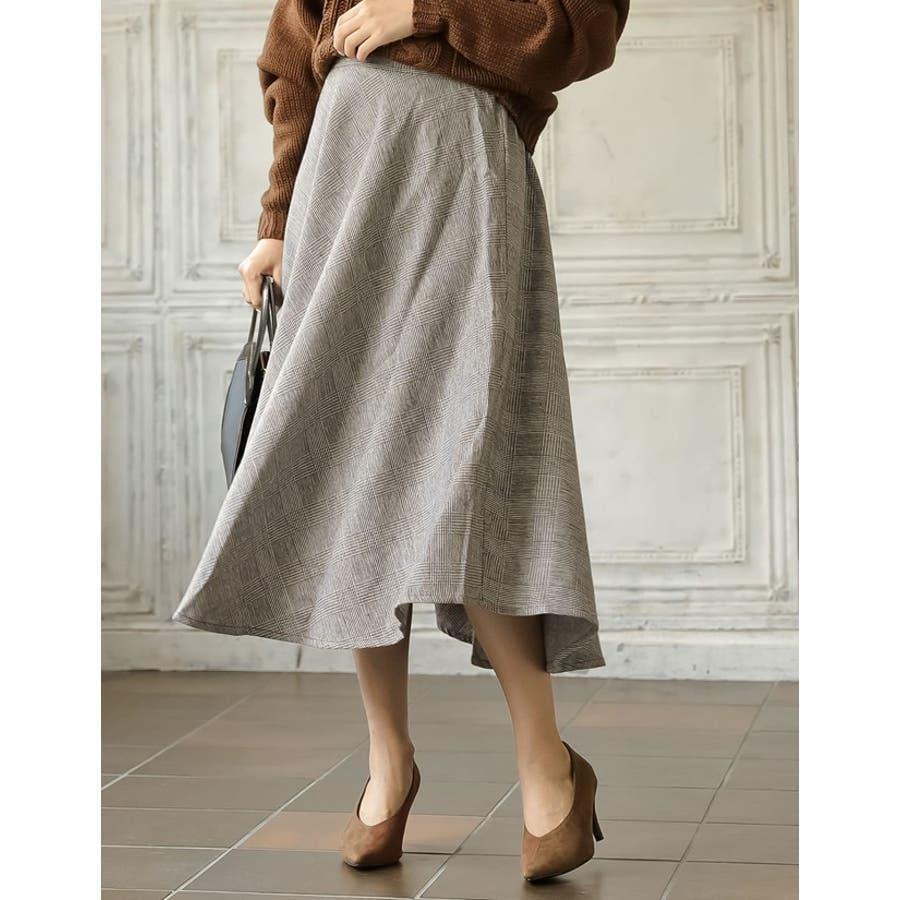 繊細なグレンチェック柄で品よく ウール混グレンチェック柄アシンメトリースカート 5