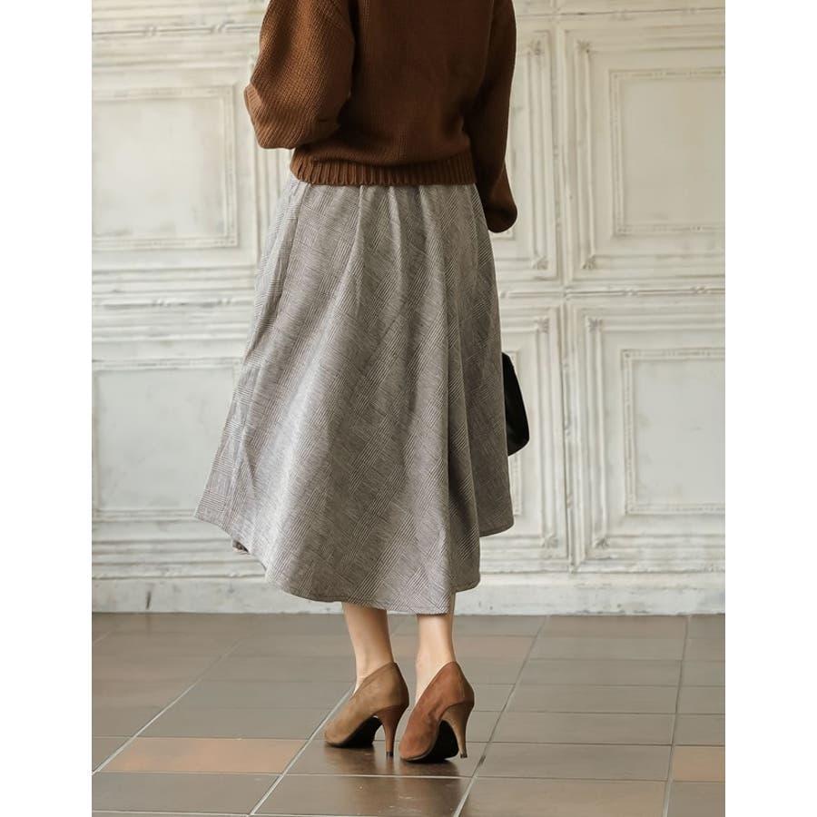 繊細なグレンチェック柄で品よく ウール混グレンチェック柄アシンメトリースカート 6