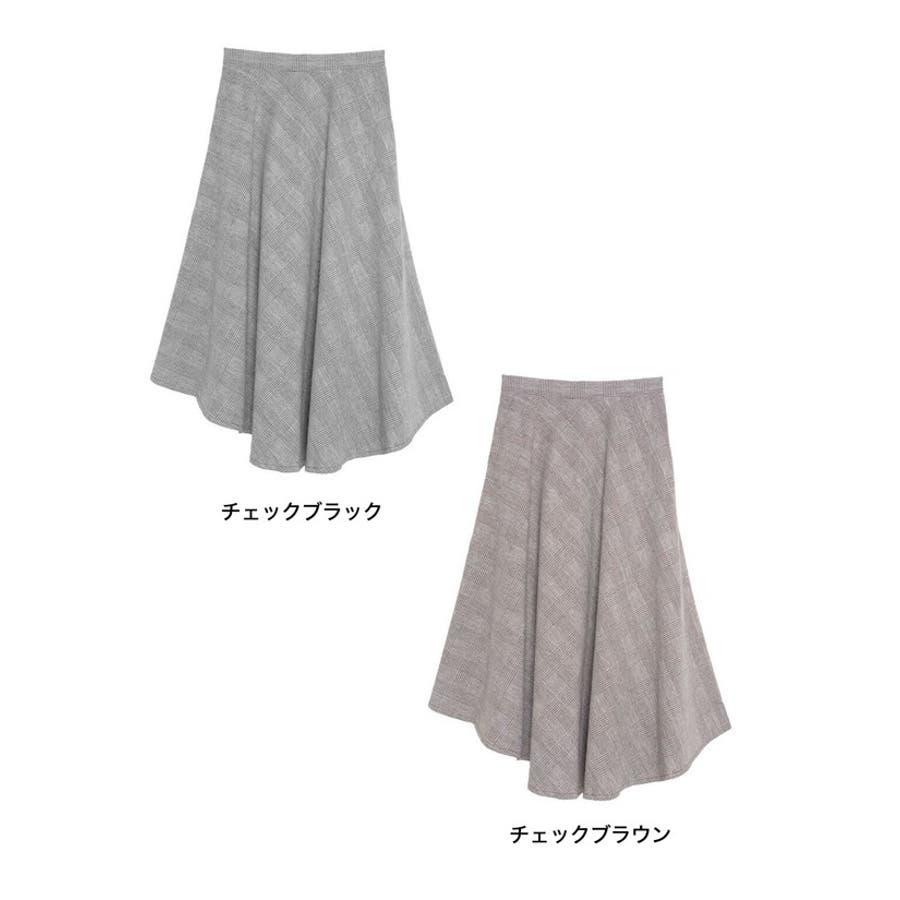 繊細なグレンチェック柄で品よく ウール混グレンチェック柄アシンメトリースカート 2
