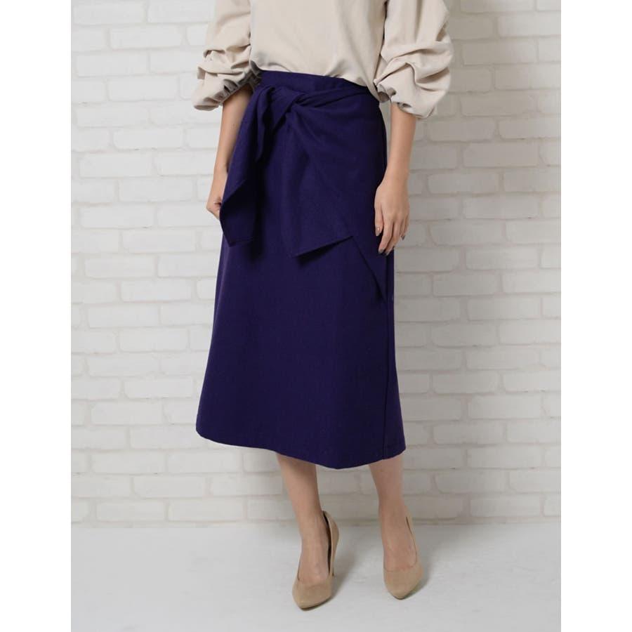 ウエストすっきり上品リボンスカート ウールタッチウエストリボンロングスカート ボトムス/スカート/ミニ丈(40〜50cm) 8