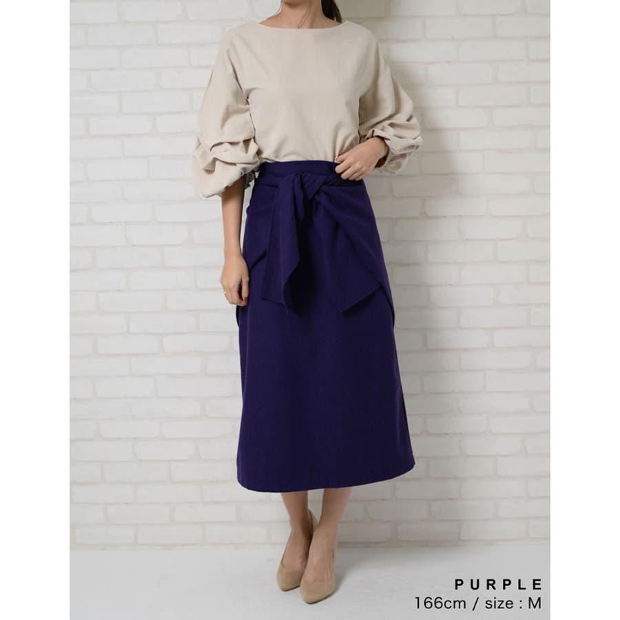 ウエストすっきり上品リボンスカート ウールタッチウエストリボンロングスカート ボトムス/スカート/ミニ丈(40〜50cm) 9