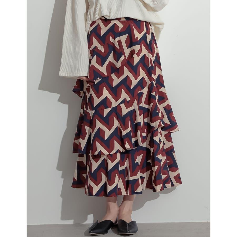 可憐に揺れる、大人のフリルスカート 螺旋フリルパターンフレアスカート スカート 97