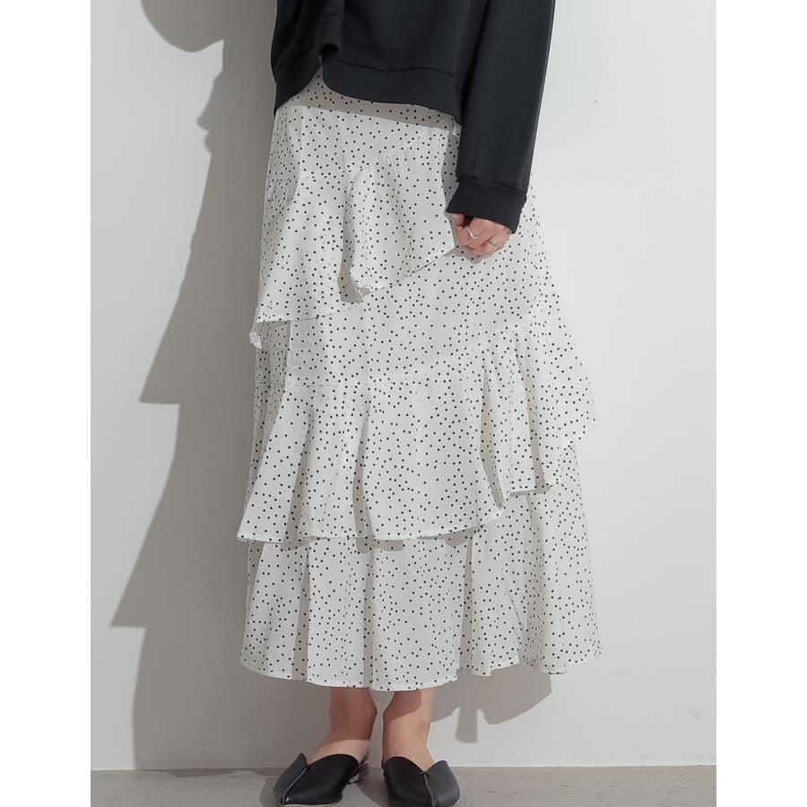 可憐に揺れる、大人のフリルスカート 螺旋フリルパターンフレアスカート スカート 16
