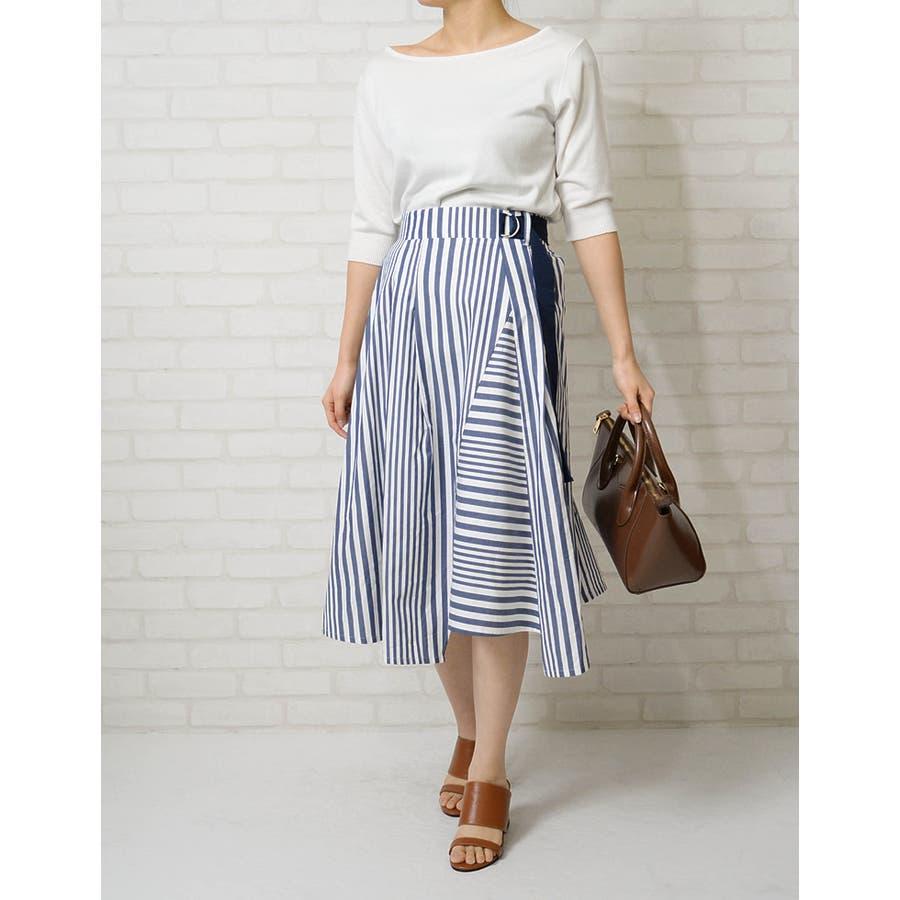 トレンドを謳歌するデザインスカート ストライプボーダーランダムフレアスカート ボトムス/スカート/ミニ丈(40〜50cm) 9