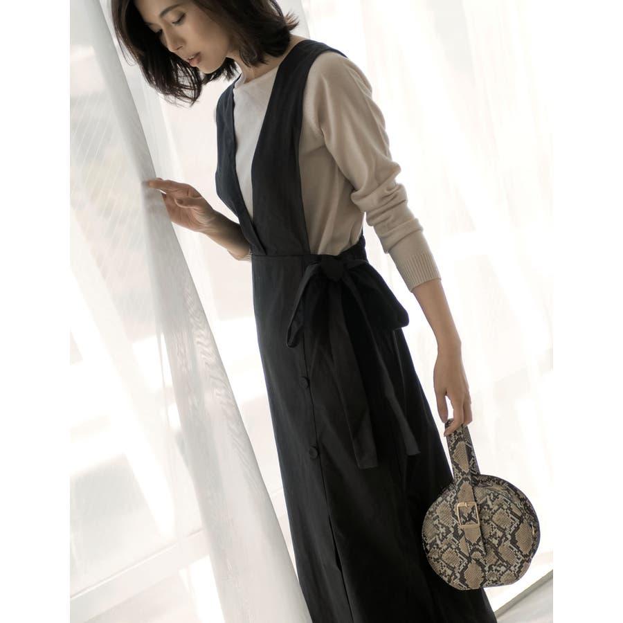 スタイルアップが大人のジャンパースカート チノ風コットンウエストリボンジャンパースカート ワンピース/ジャンパースカート 21