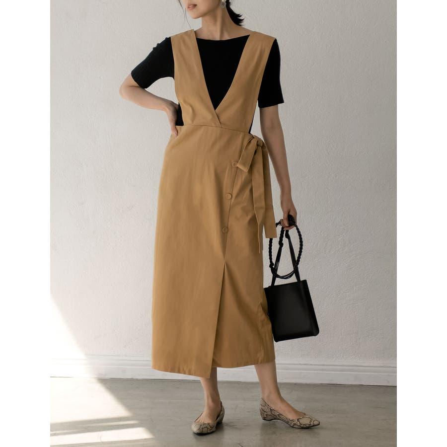 スタイルアップが大人のジャンパースカート チノ風コットンウエストリボンジャンパースカート ワンピース/ジャンパースカート 41