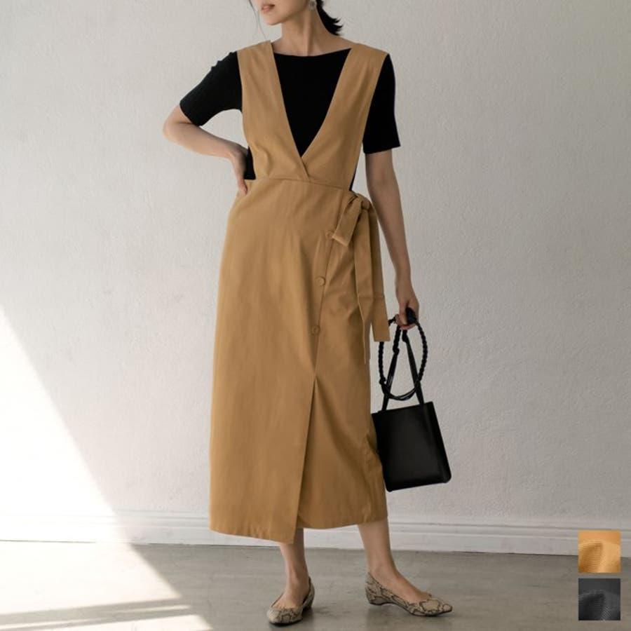 スタイルアップが大人のジャンパースカート チノ風コットンウエストリボンジャンパースカート ワンピース/ジャンパースカート 1