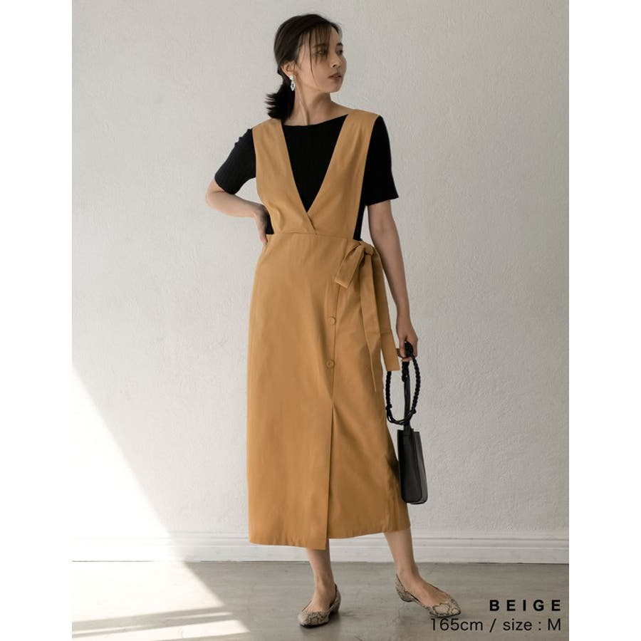 スタイルアップが大人のジャンパースカート チノ風コットンウエストリボンジャンパースカート ワンピース/ジャンパースカート 6