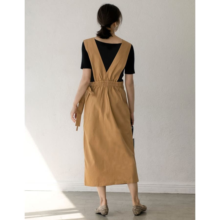 スタイルアップが大人のジャンパースカート チノ風コットンウエストリボンジャンパースカート ワンピース/ジャンパースカート 7