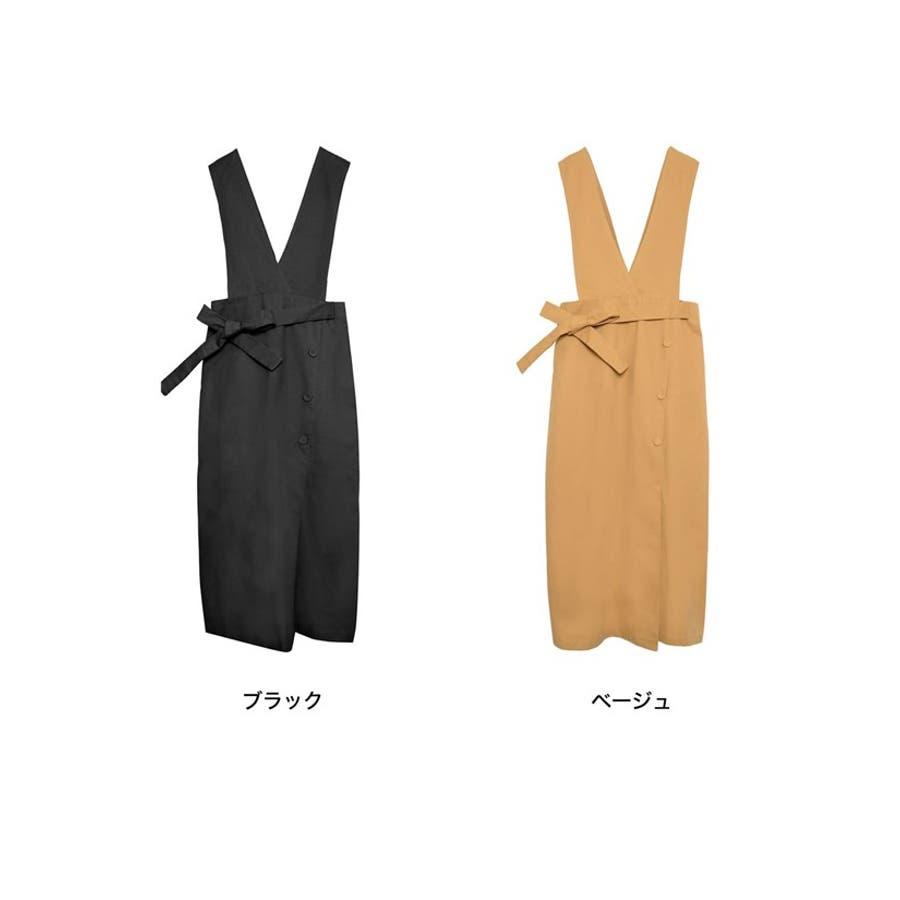 スタイルアップが大人のジャンパースカート チノ風コットンウエストリボンジャンパースカート ワンピース/ジャンパースカート 2