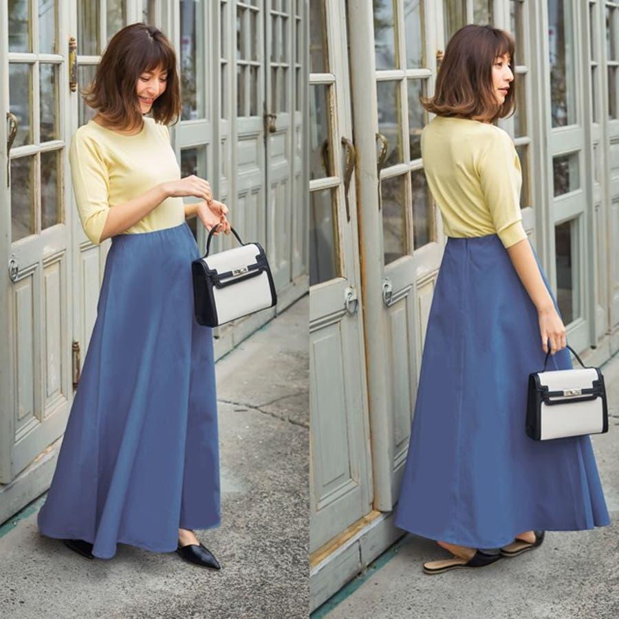 主役級の存在感。上品カラーの美ラインロングスカート M/Lサイズ ボンディングロング丈フレアスカートレディース マキシ丈ハイウエストバックファスナー 春色 春カラー 3