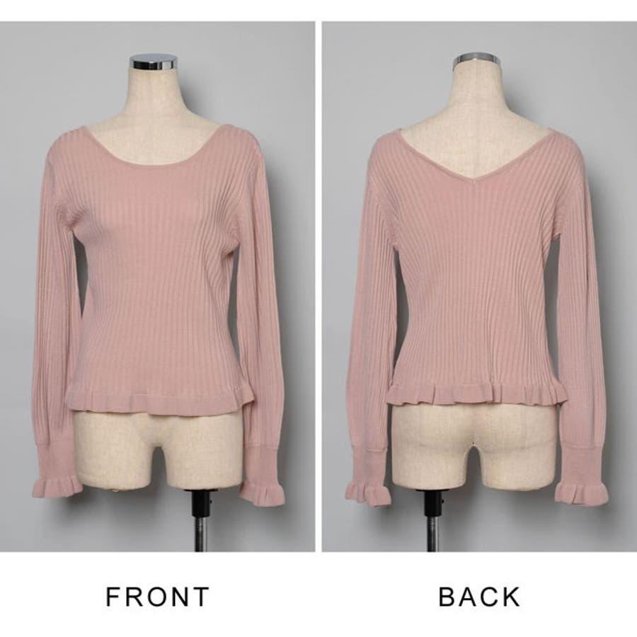 フェミニンなエッセンスが効いた春ニット 裾フリル2WAYリブニットトップス トップス/カットソー・Tシャツ 5