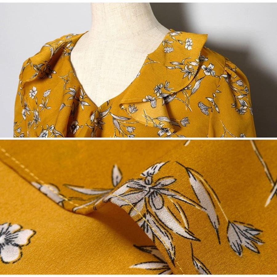 女心をくすぐる、可憐な花柄 フリルVネック花柄ブラウス トップス シャツ・ブラウス 春 10