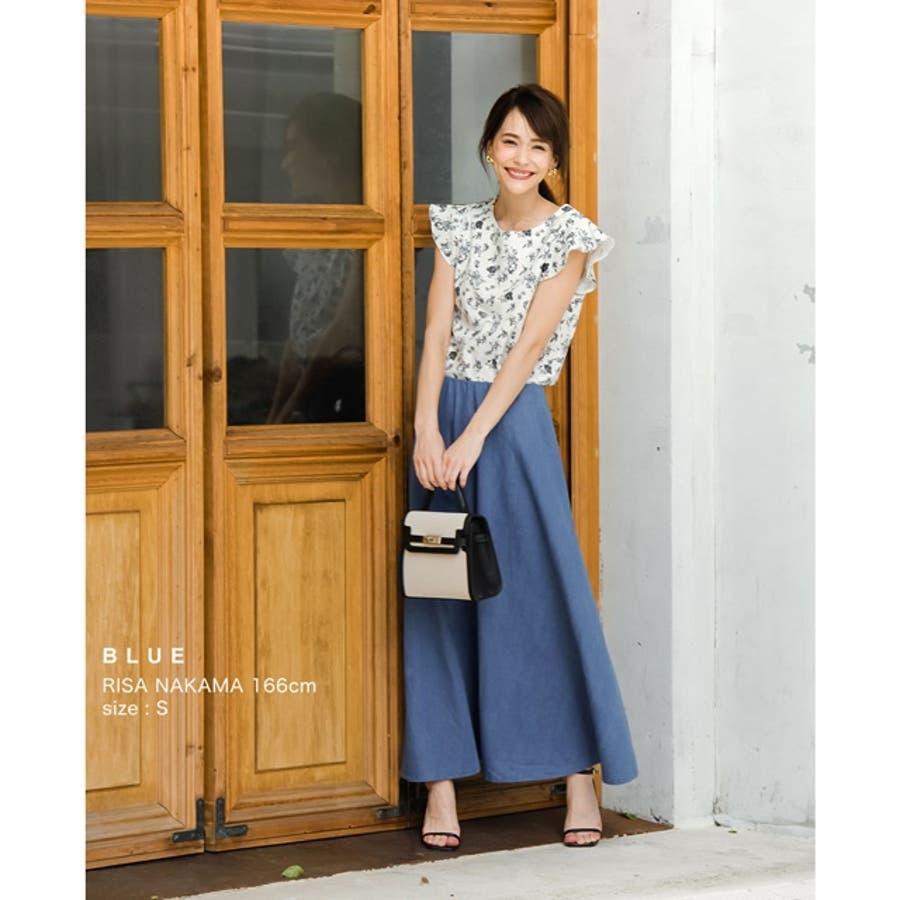 適度なハリで美しく広がるデニムフレアスカート マキシ丈デニムフレアロングスカート 5