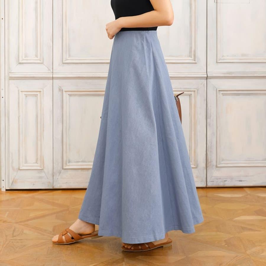 適度なハリで美しく広がるデニムフレアスカート マキシ丈デニムフレアロングスカート 8