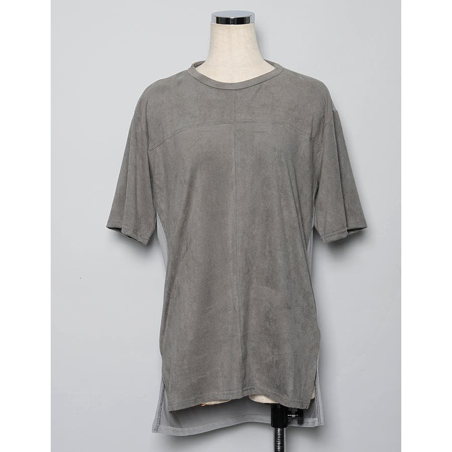 異なる生地を合せた感度の高い1着 スエードタッチ異素材切替えTシャツ トップス/カットソー・Tシャツ 9