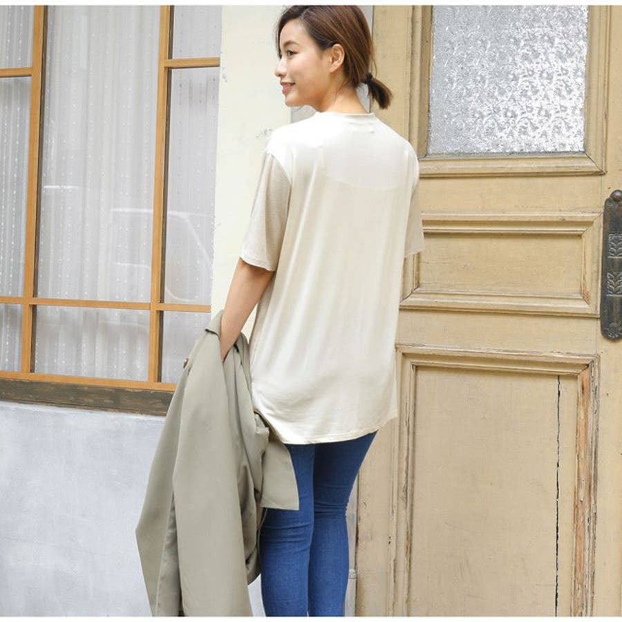 異なる生地を合せた感度の高い1着 スエードタッチ異素材切替えTシャツ トップス/カットソー・Tシャツ 6