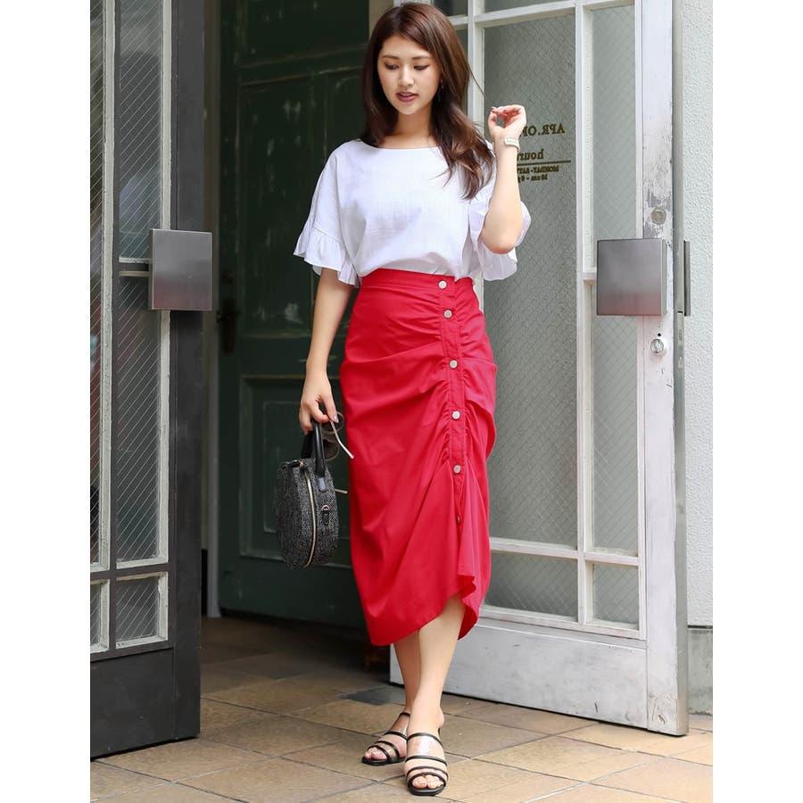 たっぷりと寄せたギャザードレープが美しい一着 ギャザードレープタイトスカート ボトムス/スカート/ロング・マキシ丈(76cm〜) 10