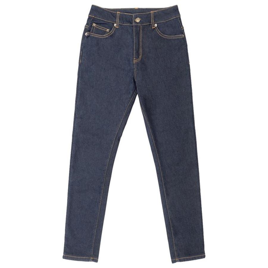 すっきり見えするあったかデニムでさよなら重ね履き あったか裏ベロアフリーススキニーデニム パンツ/デニムパンツ 70
