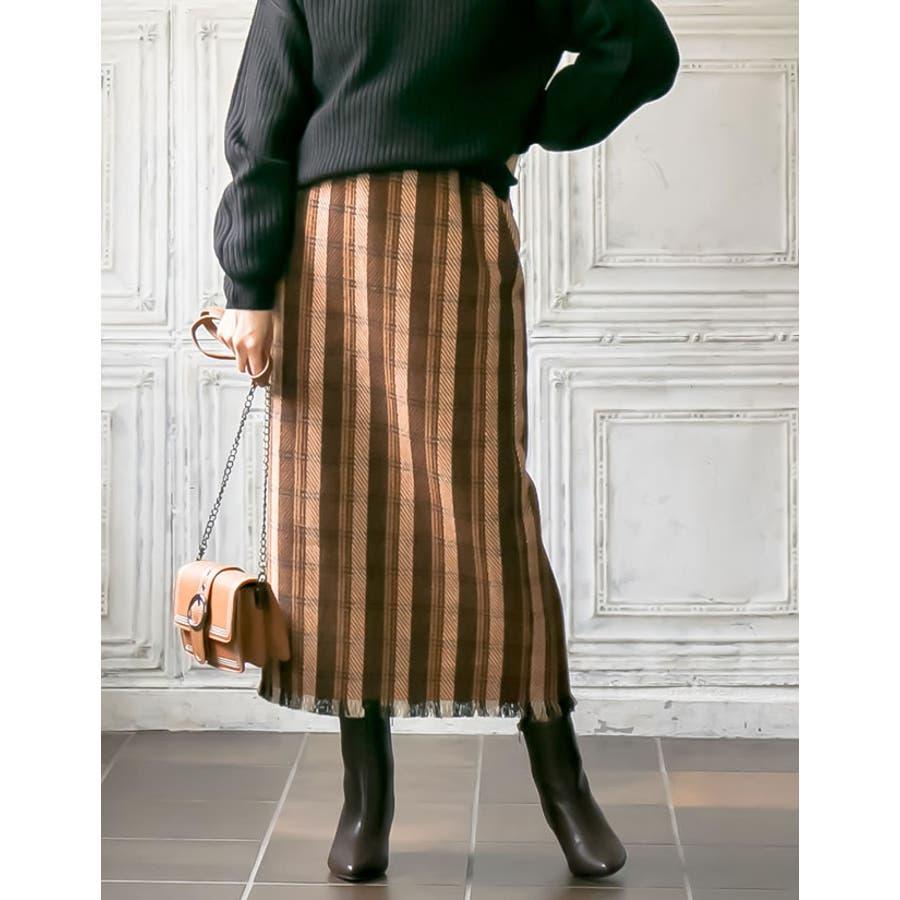 シーズンムードを高めてくれるウォーミーなチェック柄スカート裾フリンジチェック柄タ… 7