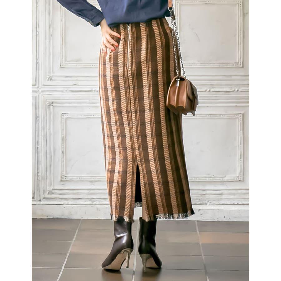 シーズンムードを高めてくれるウォーミーなチェック柄スカート裾フリンジチェック柄タ… 9