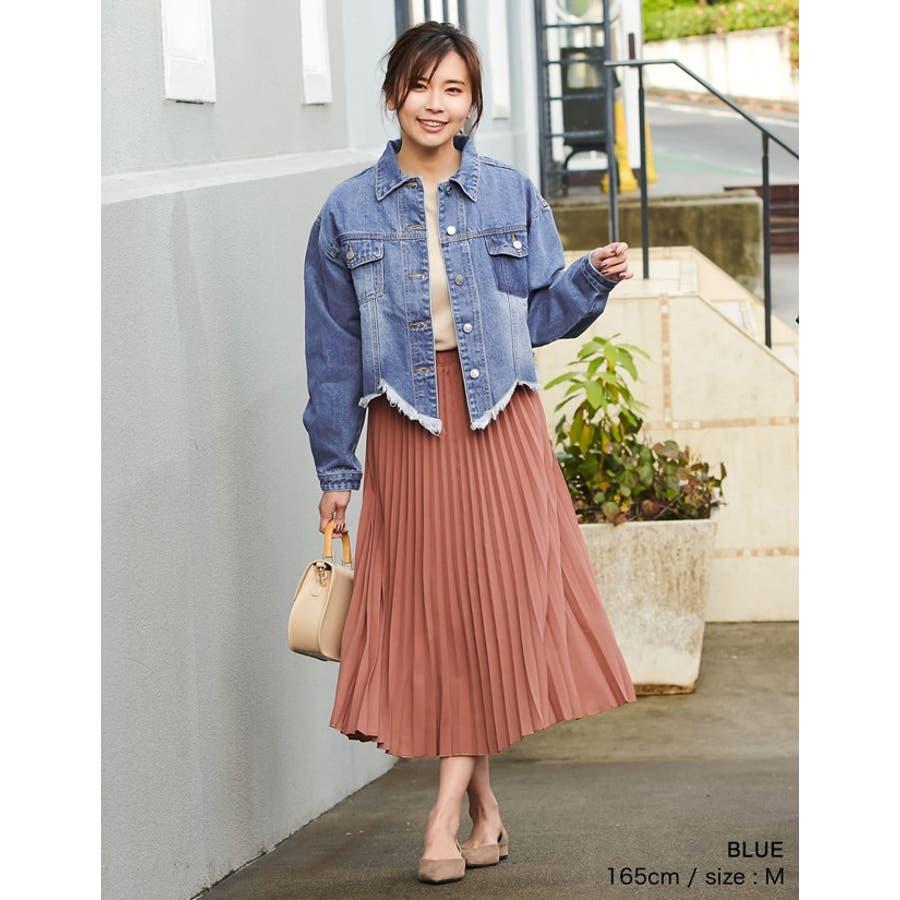 裾の断ち切りカットが印象的なデニムジージャン 風デニムジャケット アウター/ジャケット 4