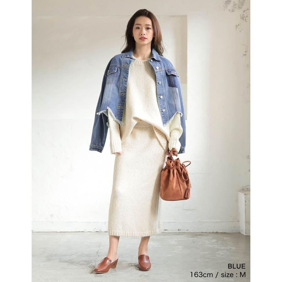 裾の断ち切りカットが印象的なデニムジージャン 風デニムジャケット アウター/ジャケット 6