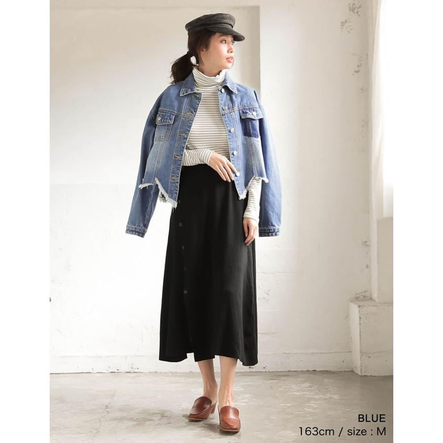 裾の断ち切りカットが印象的なデニムジージャン 風デニムジャケット アウター/ジャケット 8