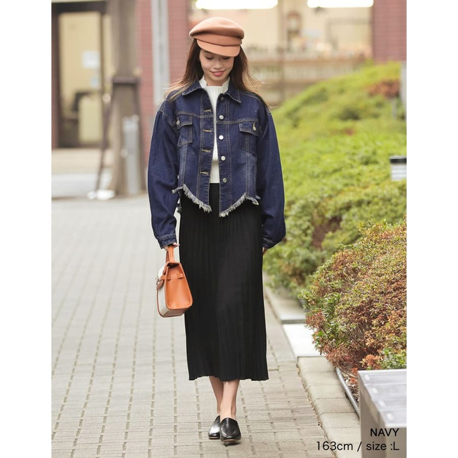 裾の断ち切りカットが印象的なデニムジージャン 風デニムジャケット アウター/ジャケット 10
