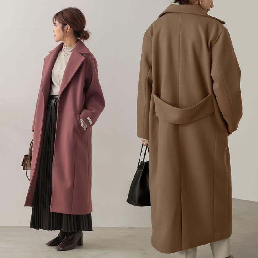 洗練された大人の魅力をプラスするチェスターコート [低身長向けサイズ対応]ジャージーメルトンロングチェスターコートジャケット/アウター/チェスターコート 1