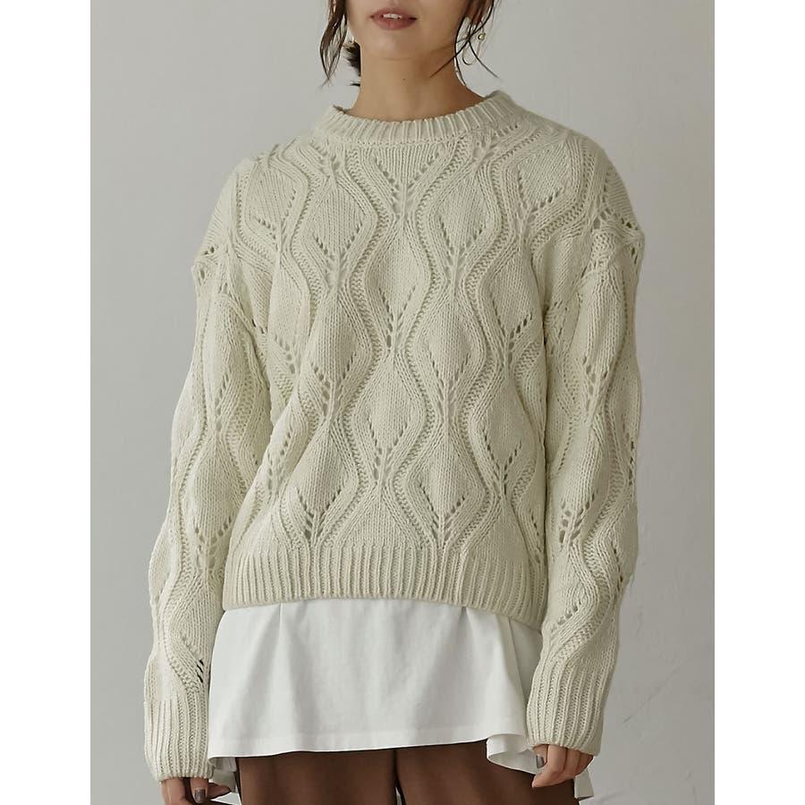 ひと味違う大人の女性の飾り編み かぎ編みニットトップス トップス/ニット/セーター 18