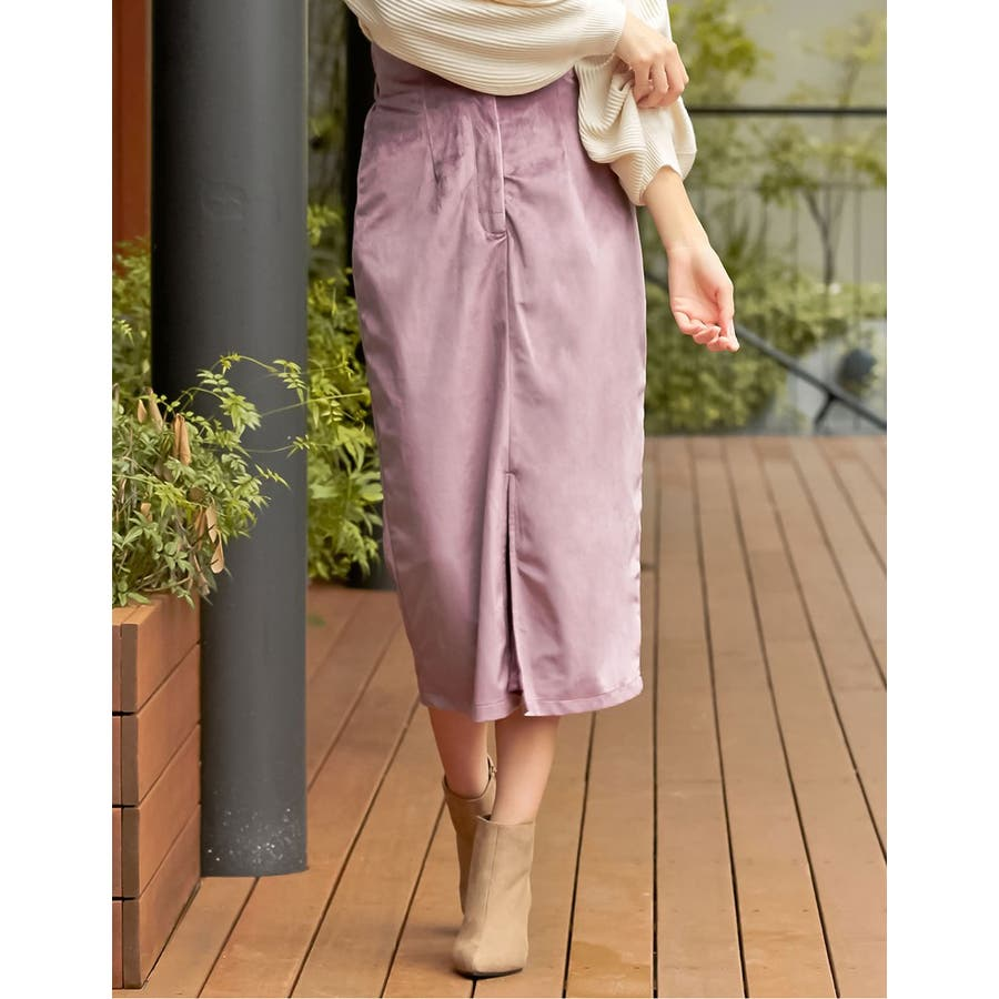 ベロアが引き出すしなやかな女性らしさ ベロアタイトスカート スカート/スカート 80