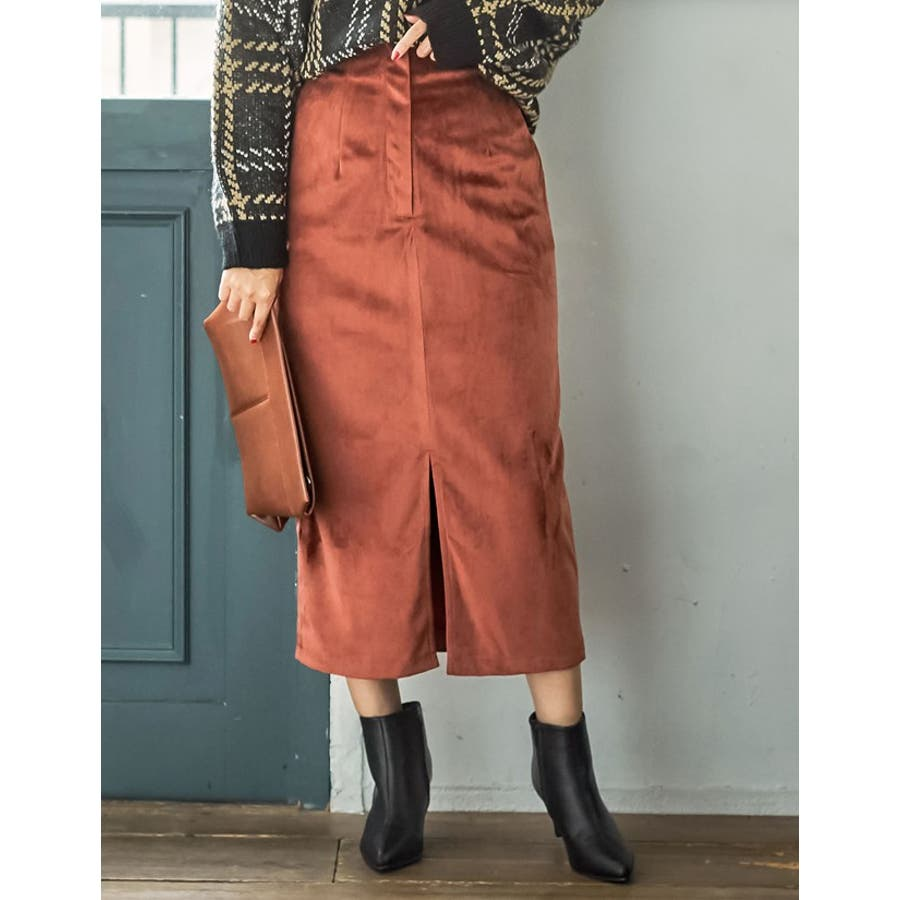 ベロアが引き出すしなやかな女性らしさ ベロアタイトスカート スカート/スカート 6