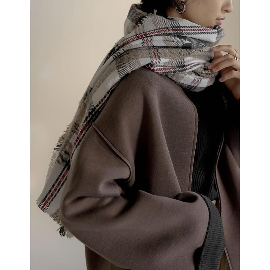 巻いて良し、羽織って良しのマルチなアイテム チェック柄フリンジビッグマフラー ファッション雑貨/マフラー/ショール 16