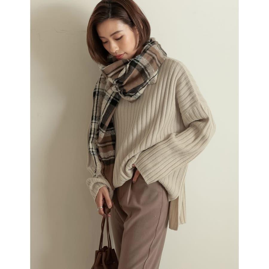 巻いて良し、羽織って良しのマルチなアイテム チェック柄フリンジビッグマフラー ファッション雑貨/マフラー/ショール 4