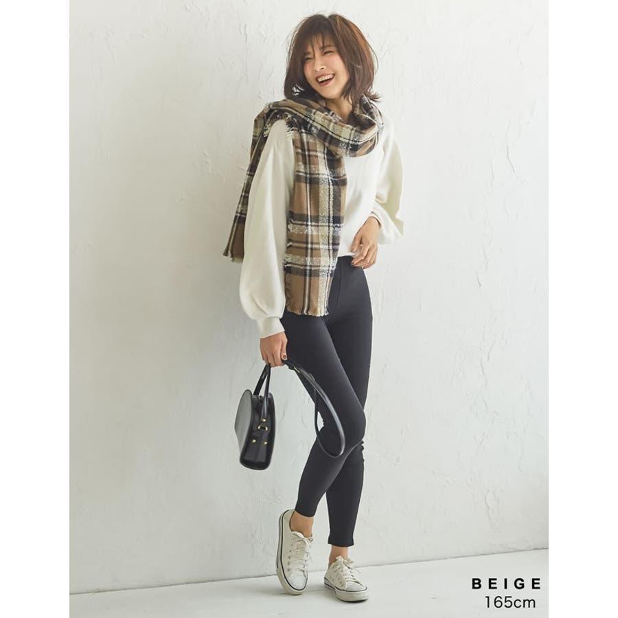 巻いて良し、羽織って良しのマルチなアイテム チェック柄フリンジビッグマフラー ファッション雑貨/マフラー/ショール 6