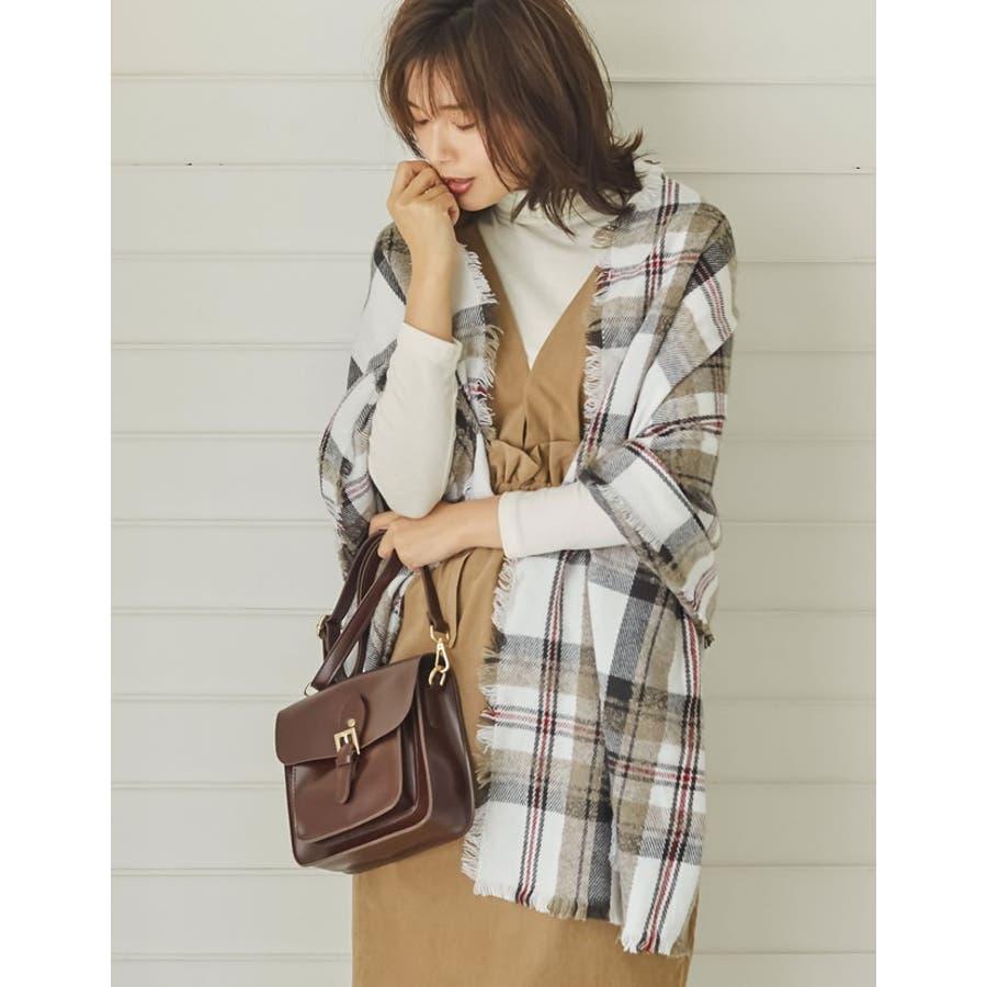 巻いて良し、羽織って良しのマルチなアイテム チェック柄フリンジビッグマフラー ファッション雑貨/マフラー/ショール 7